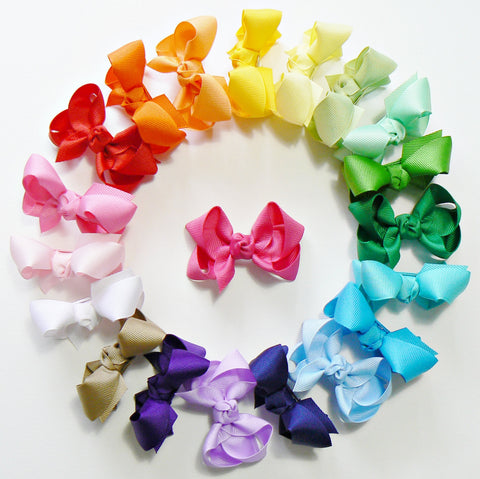 24 Small Hair Bows (with knot) - B2 - SMALL BOLD ~ Wholesale
