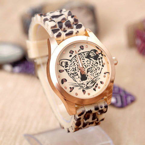 Great Deal Awesome Trendy Designer's Gift New Arrival Good Price Silicone Stylish Casual Leopard Watch [4933058884]