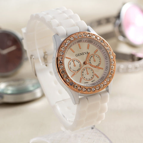 Gift Trendy Great Deal Awesome Good Price New Arrival Designer's Stylish Silicone Diamonds Birthday Gifts Watch [4915364612]