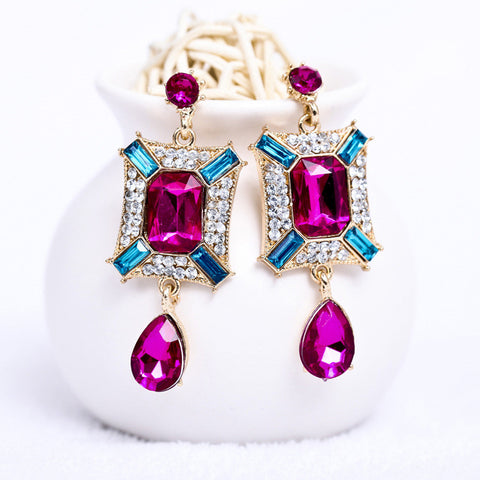 Accessory Pale Violet Gemstone Water Droplets Earrings [4918470660]