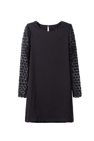 Winter Slim Black Print Lace Long Sleeve One Piece Dress [4917830148]