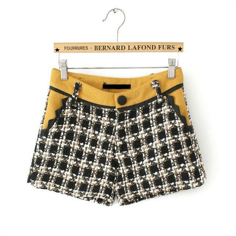 Plaid Mosaic Vintage PU Leather Pants Boot Cut Shorts [4918011652]