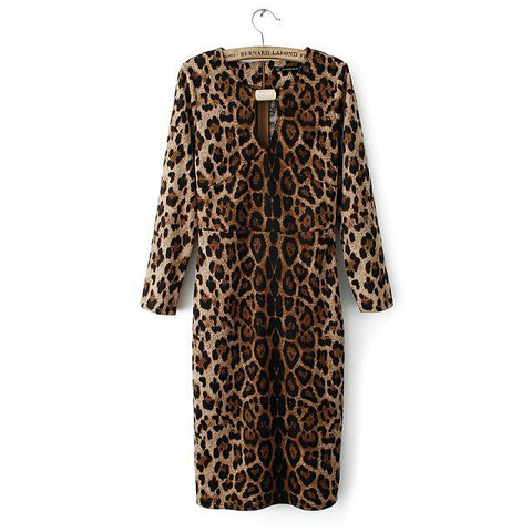 Leopard Elastic Long Sleeve Slim Round-neck Sexy One Piece Dress [4917830724]