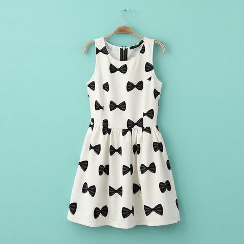 Summer Butterfly Print Round-neck Pullover Sleeveless Skirt Dress One Piece Dress [4917856324]