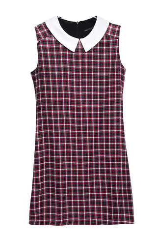 Summer Women's Fashion Mosaic Dolls Plaid Sleeveless One Piece Dress [4917828868]