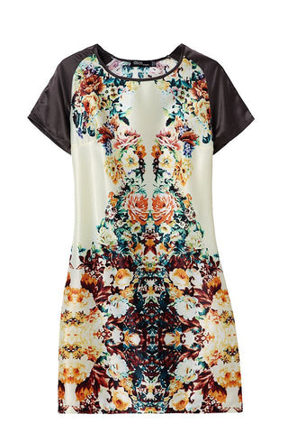Summer Pastoral Style Floral Print Short Sleeve Round-neck Skirt One Piece Dress [4917856772]