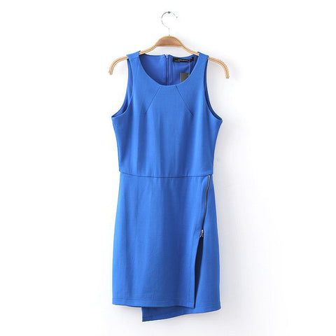 Summer Stretch Zippers Irregular Sleeveless Vest Dress One Piece Dress [4917802180]