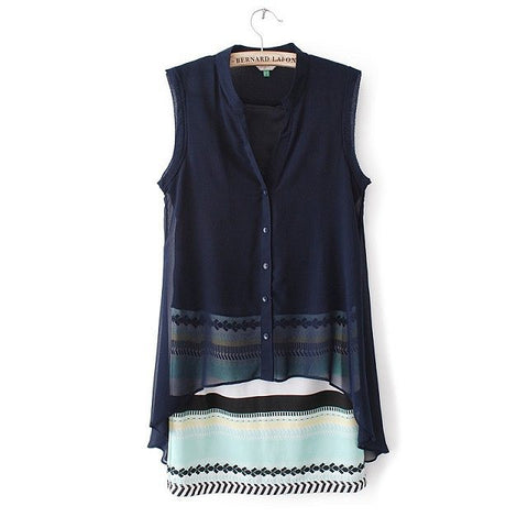 Women's Fashion Chiffon V-neck Stripes Mosaic Sleeveless One Piece Dress [4917879812]