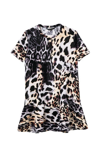 Women's Fashion Stylish Strong Character Animal Print Leopard Skirt One Piece Dress [4917858692]