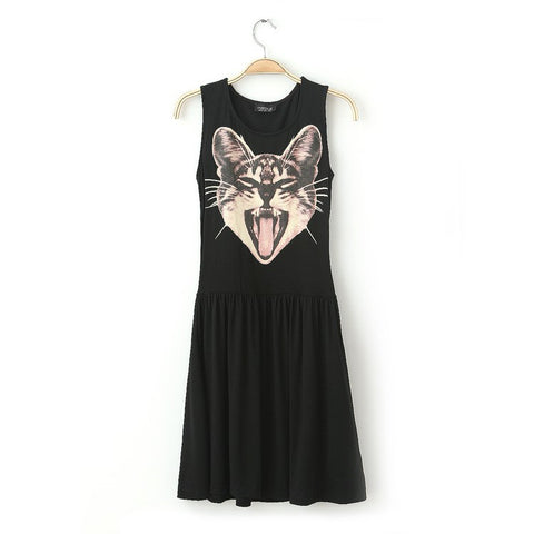 Women's Fashion Summer Cats Pattern Vest Dress Sleeveless One Piece Dress [4917882692]