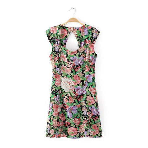 Women's Fashion Summer Backless Sexy Sleeveless Round-neck Vest Dress One Piece Dress [4917841220]