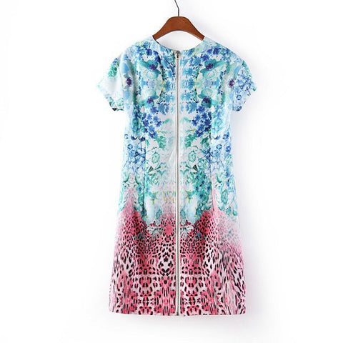Women's Fashion Summer Zippers Print Short Sleeve Dress Skirt One Piece Dress [4917791812]