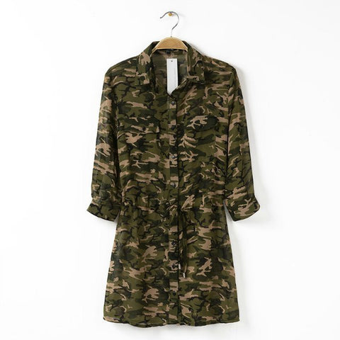 Strong Character Camouflage Blouse One Piece Dress [4917857284]