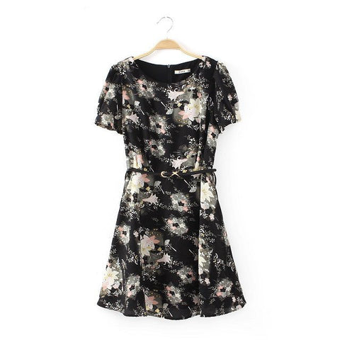 Summer Pastoral Style Vintage Print Floral Shaped Short Sleeve Round-neck Skirt One Piece Dress [4917785924]