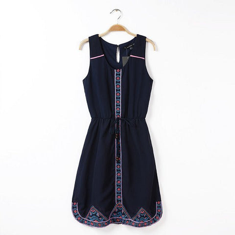 Summer Fashion Stylish Embroidery Sleeveless Vest Dress One Piece Dress [4917843332]
