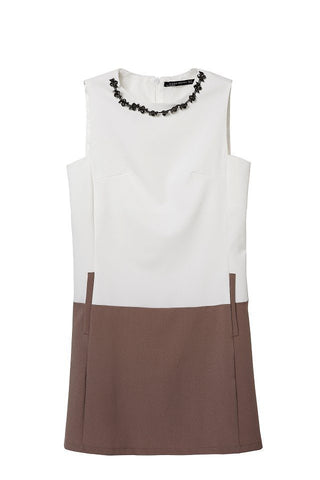 Summer Double Color Chain Diamonds Accessory With Pocket Sleeveless One Piece Dress [4917843204]