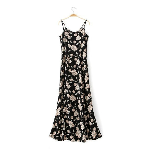Stylish Summer Women's Fashion Prom Dress Floral Print Mermaid Spaghetti Strap One Piece Dress [4917856388]