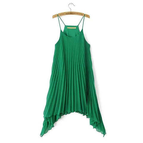 Summer Irregular Spaghetti Strap Dress Sleeveless Pleated Skirt One Piece Dress [4917829252]