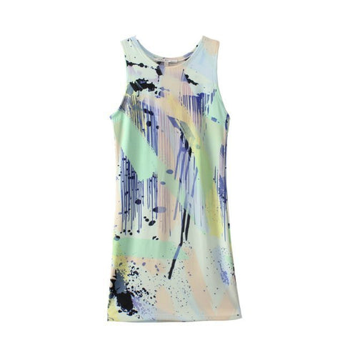 Women's Fashion Summer Print Sleeveless Irregular Vest Dress One Piece Dress [4917841284]