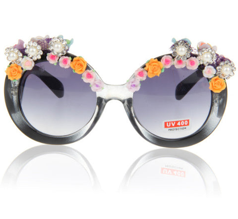 Hot Sale Beach Rose Pearls Sunglasses [4915289476]