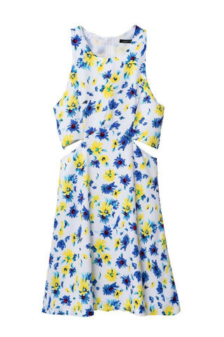 Women's Fashion Summer Floral Print Sleeveless Hollow Out Vest Dress One Piece Dress [4917828356]