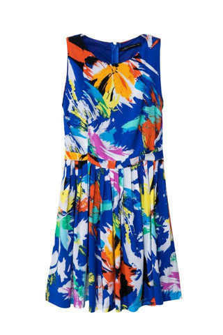 Summer Print Pleated Vest Dress Skirt One Piece Dress [4917783556]