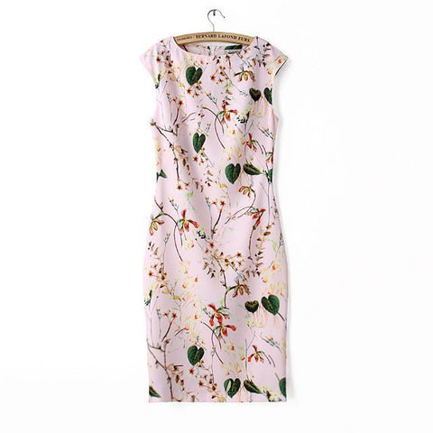 Leaf Print Sleeveless Slim Split Skirt Dress One Piece Dress [4917844932]