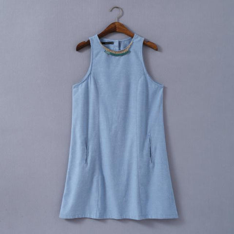 Summer Decoration Denim Blue Cotton Linen Vest Dress Skirt One Piece Dress [4917813508]