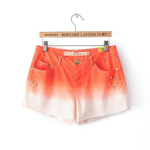 Summer Gradient Rivet Slim Sweets Plus Size Pants Casual Shorts [4918045444]