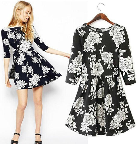 Stylish Floral Print Three-quarter Sleeve Corset Slim High Rise Skirt One Piece Dress [5013220036]