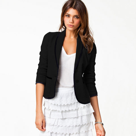 Autumn Long Sleeve Blazer Stylish Cotton Slim Jacket [6281589828]