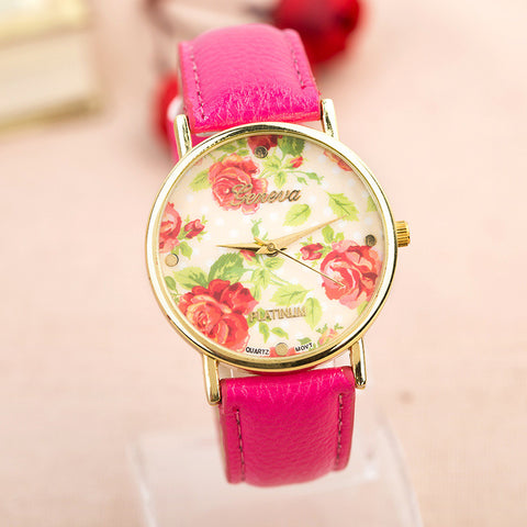 Stylish Designer's Gift Awesome Trendy Great Deal Good Price New Arrival Hot Sale Floral Pastoral Style Casual Ladies Watch [4915366020]