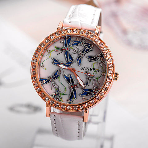 Gift New Arrival Trendy Designer's Good Price Awesome Great Deal Hot Sale Korean Stylish Ladies Diamonds Round-toe Luxury Watch [4933060612]