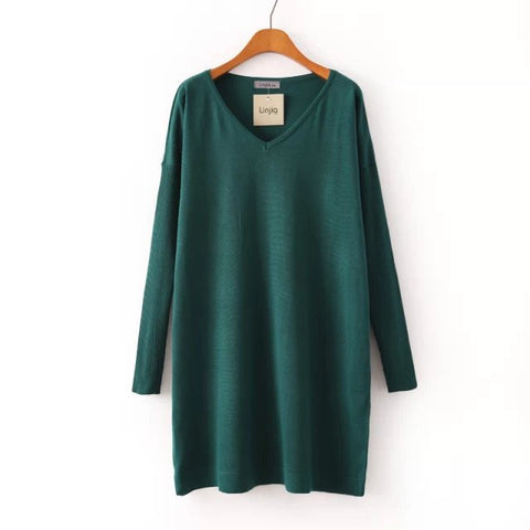 Winter Simple Design V-neck Long Sleeve Knit Skirt One Piece Dress [4917830852]