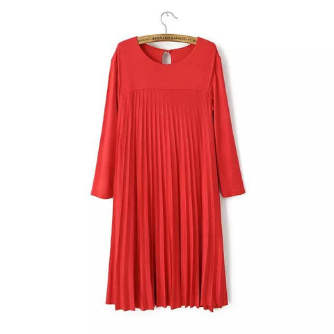 Double-layered Thicken Winter Pleated Three-quarter Sleeve Skirt One Piece Dress [4917803716]