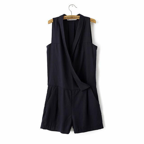 Black Sleeveless V-neck Shorts Pants Jumpsuit [4918043716]