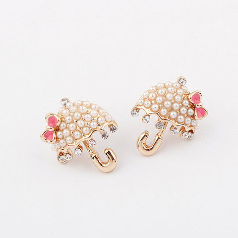 Strong Character Design Stylish Korean Pearls Earring Umbrella [4919099460]