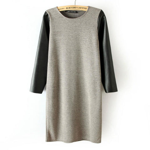 PU Leather Mosaic Knit Three-quarter Sleeve Winter Skirt One Piece Dress [4917815556]