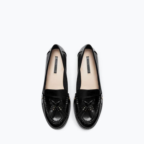 Autumn Flats Metal Square Toe With Heel Tassels Shoes [4918349572]