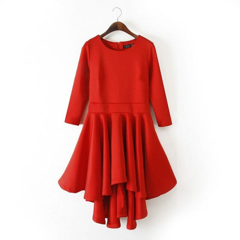 Winter Three-quarter Sleeve Slim Double-layered Pleated Prom Dress One Piece Dress [4917880452]