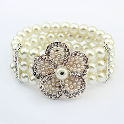 Awesome Shiny Gift New Arrival Great Deal Hot Sale Stylish Floral Pearls Elastic Bracelet [4918808644]