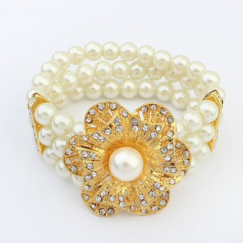 Great Deal New Arrival Shiny Hot Sale Awesome Stylish Gift Pastoral Style Floral Pearls Elastic Bracelet [4918782340]