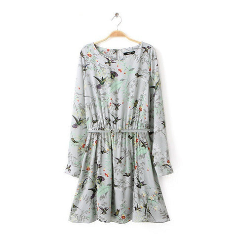 Autumn Print Long Sleeve Waistband One Piece Dress [4917829892]