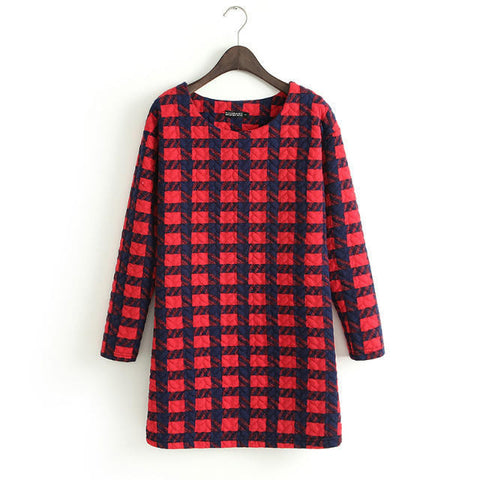 Women's Fashion Long Sleeve Plaid Cotton Stylish Dress Skirt One Piece Dress [4917784900]