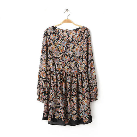 Autumn Women's Fashion Print Long Sleeve Floral Dress One Piece Dress [4917884420]