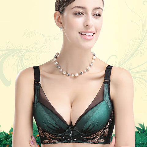 Bralette Comfortable Sexy Hot Cats Deep V Embroidery Bra [4915548484]