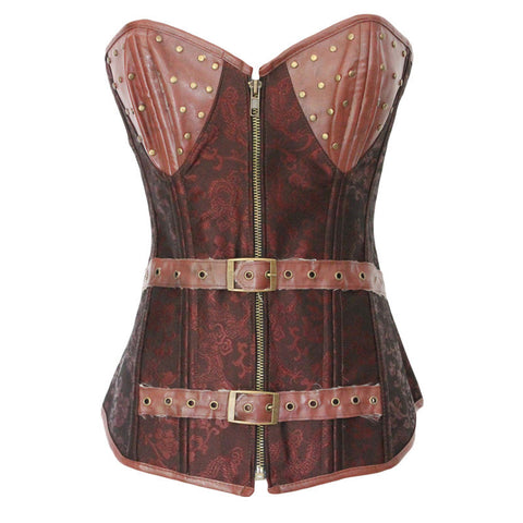 Body Shaper Sexy Waist Palace Vintage Zippers Print Slim Push Up Corset [4914601604]