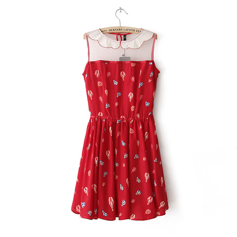 Summer Dolls Stylish Balloon Print Mosaic Sleeveless One Piece Dress [4917879428]