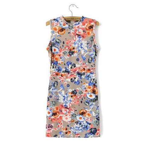 Summer Floral Sleeveless Elastic Skirt One Piece Dress [4917801924]