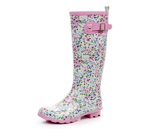 Rubber Shoes Pink Floral Stylish Korean Boots [4915342404]